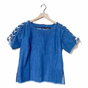 Kali laced up sleeves top blue Sz Small